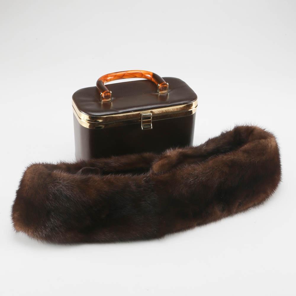 Vintage Handbag and Mink Fur Collar