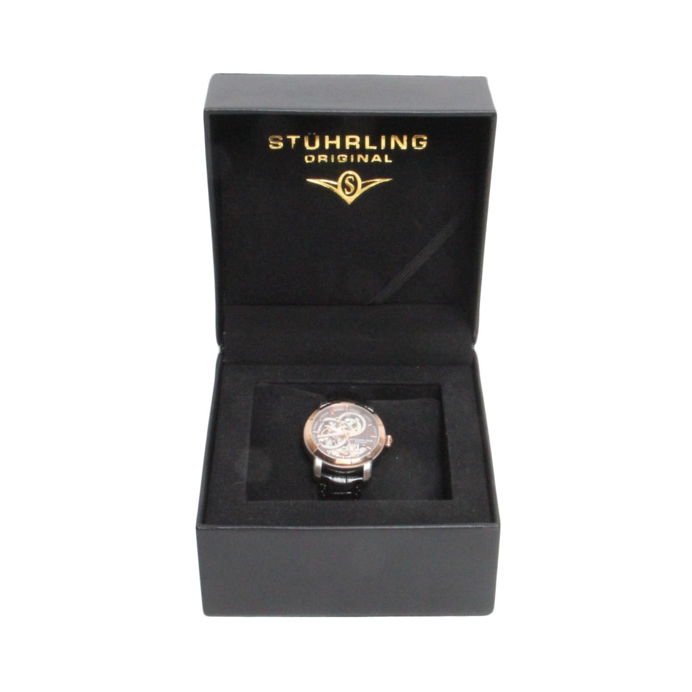 Stuhrling Stainless Steel and Genuine Leather Wristwatch