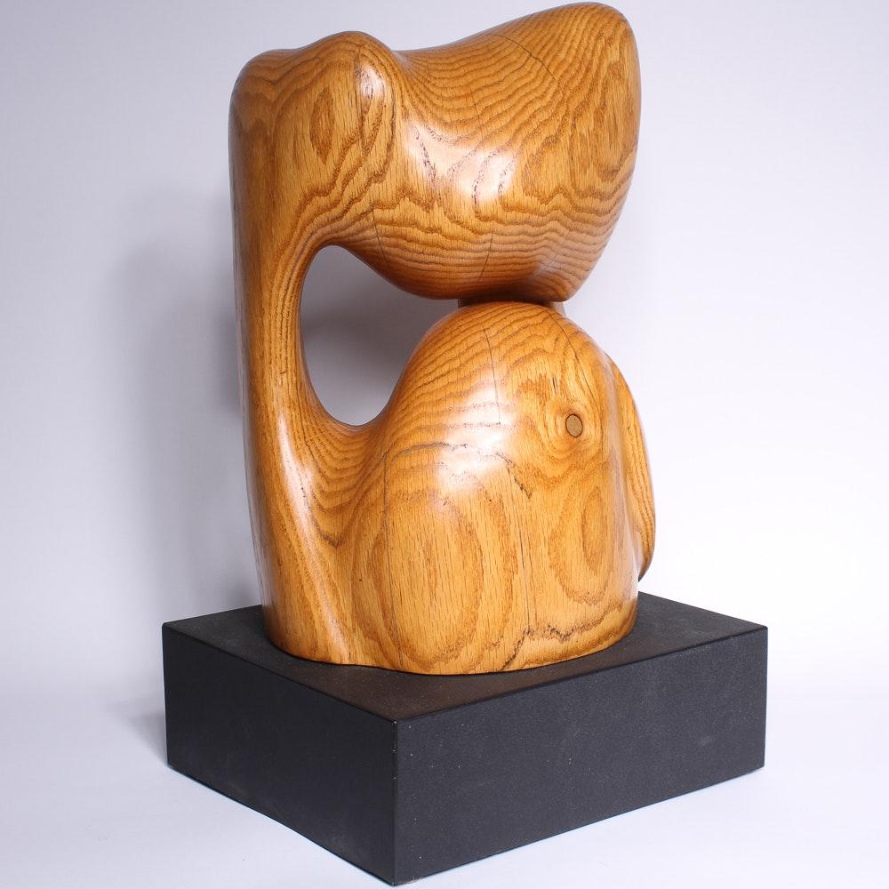 "Bruce Johnson Carved Oak Sculpture, ""Noh"""