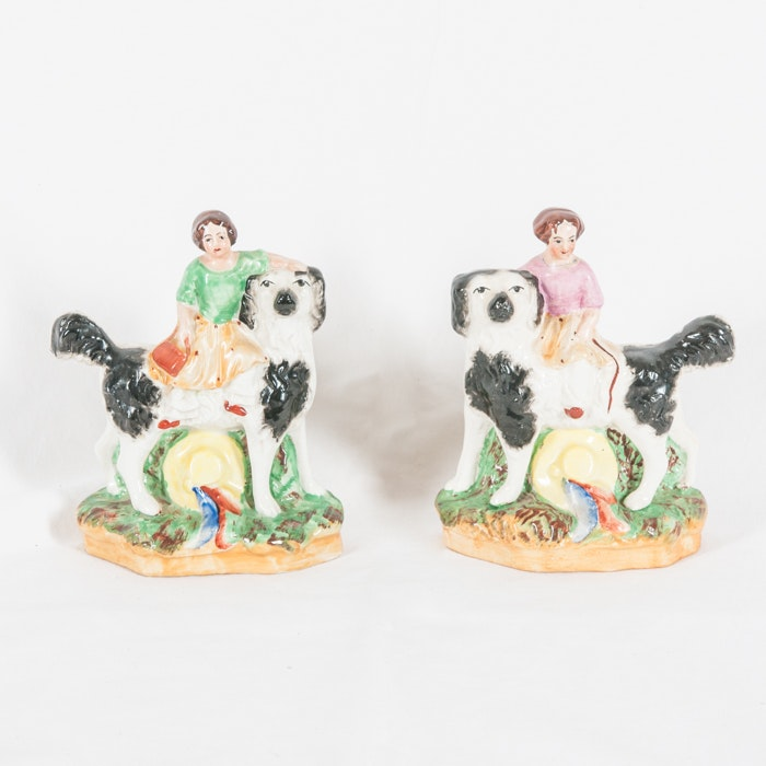 """""""Old Staffordshire"""" Spaniel and Seated Girl Figurines"""