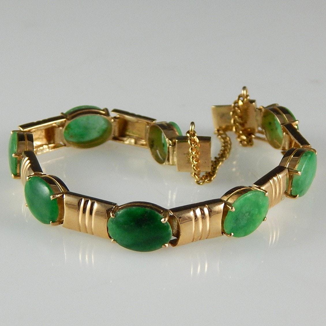 14K Yellow Gold and Jadeite Bracelet