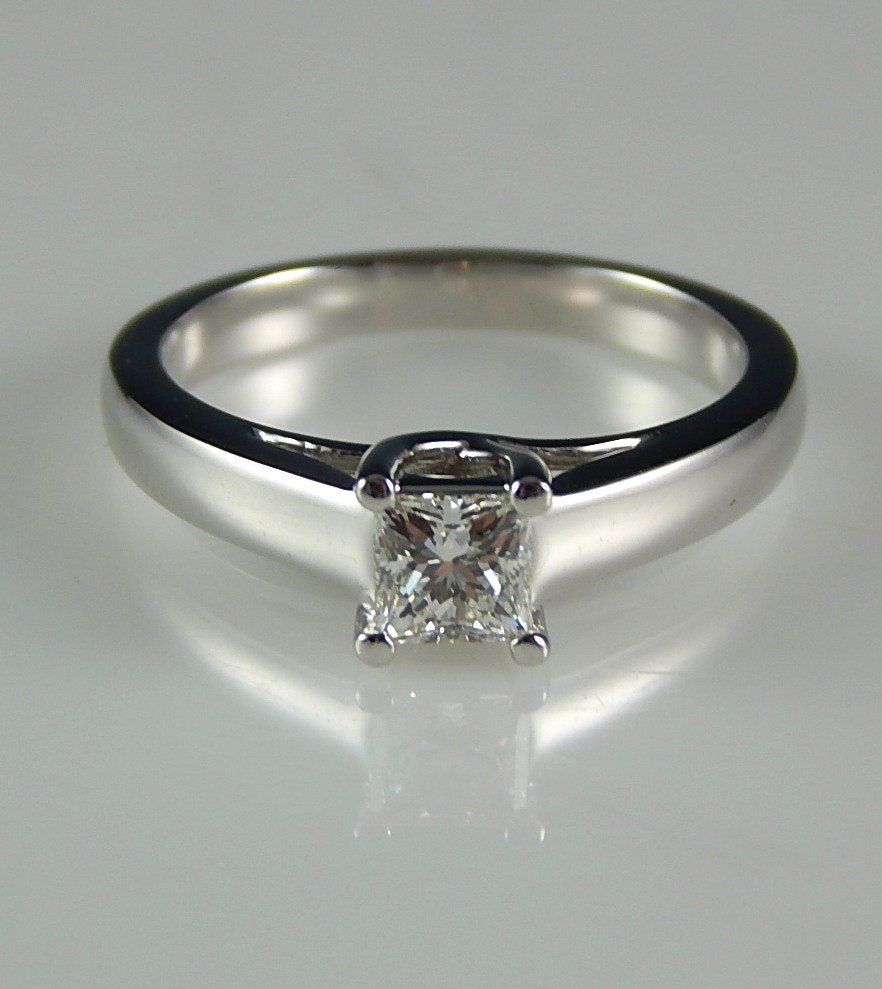 14K White Gold 0.53 CTW Diamond Solitaire Ring