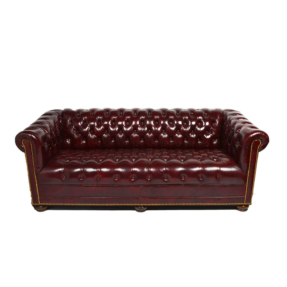 Dark red leather chesterfield style sofa ebth for Dark red leather sectional sofa