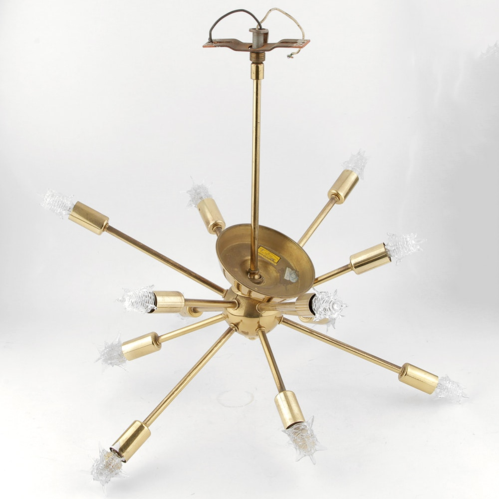 "1950's Mid Century ""Sputnik"" 12 Arm Chandelier Lamp with Starlight Bulbs"