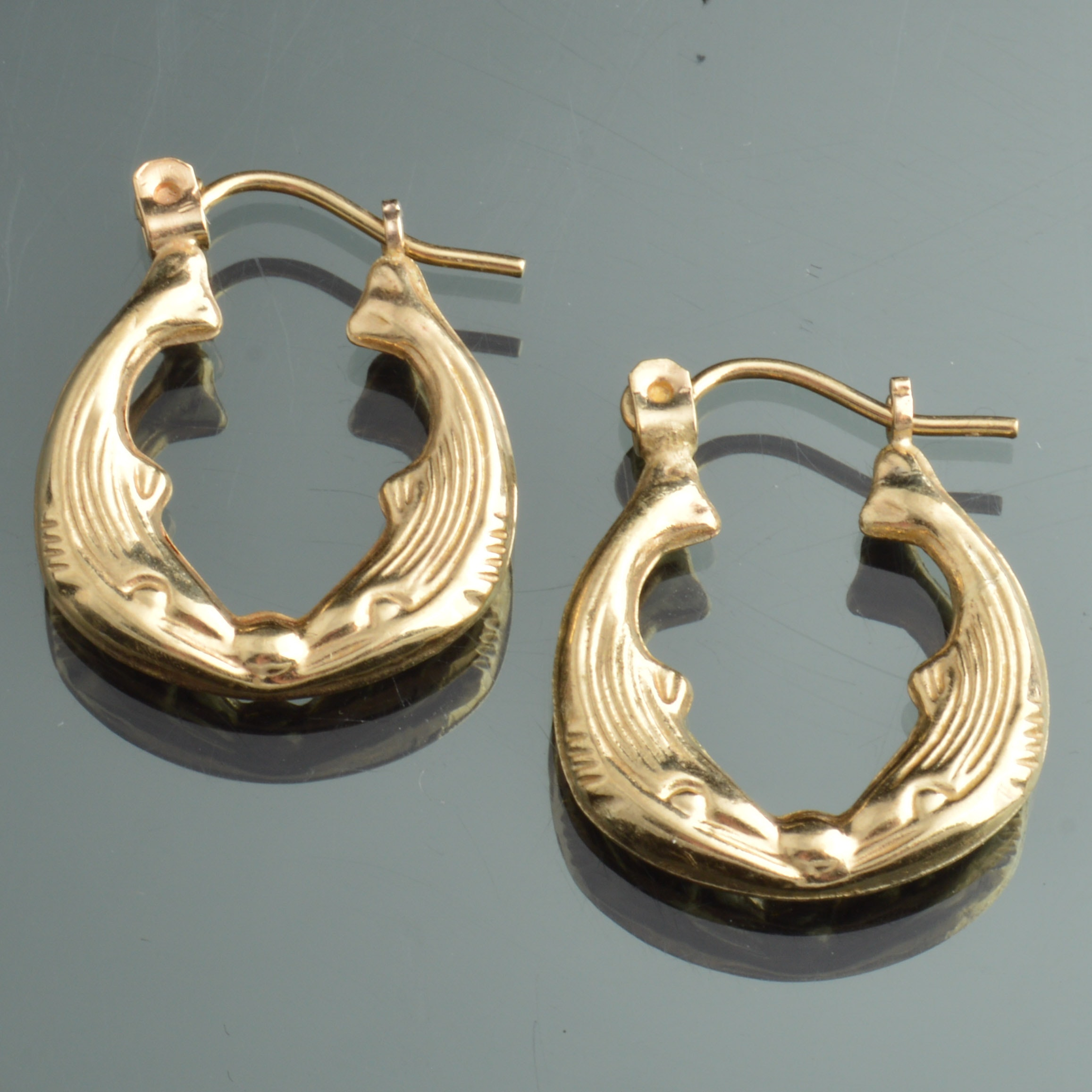 10K Yellow Gold Dolphin Hoop Earrings