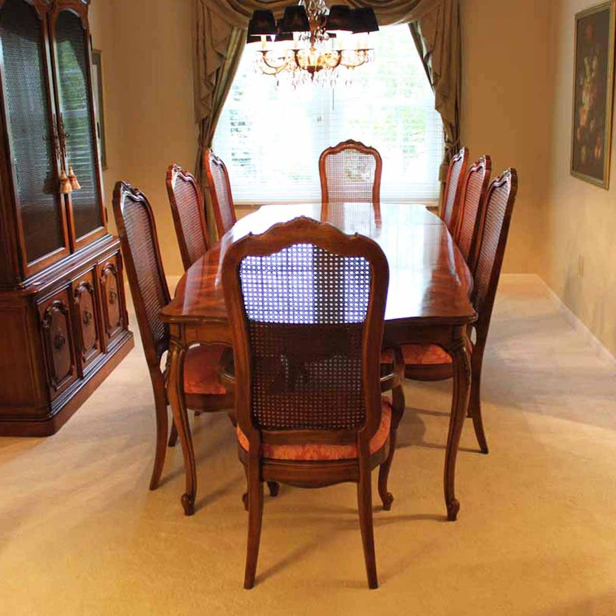 Thomasville Cherry Dining Room Set: Thomasville Dining Room Set With Cane Back Chairs