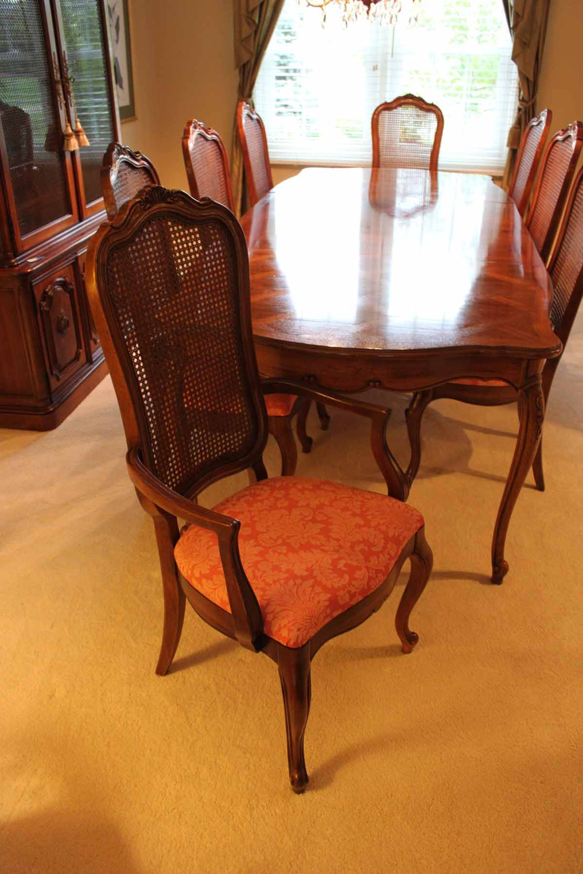 Thomasville Dining Room Set With Cane Back Chairs Ebth