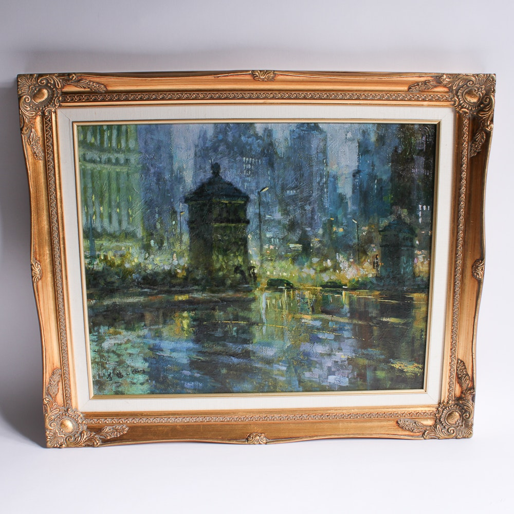 Framed Oil Painting on Canvas by Li Chang