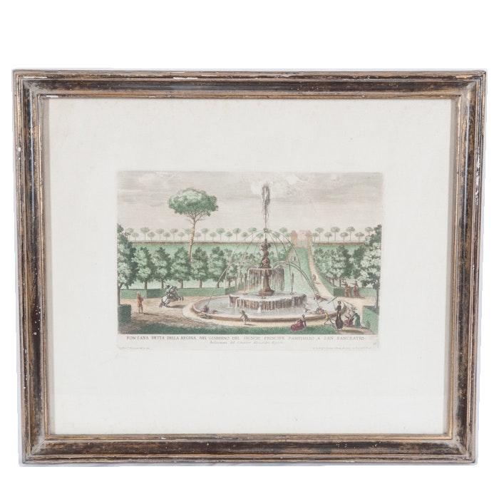 """Giovanni Francesco Venturini Hand Colored Engraving """"Fontana detta della Regina..."""""""