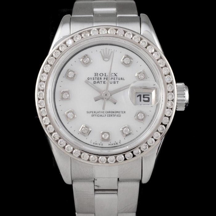 Women's Rolex Perpetual Date Steel Diamond Dial and Bezel Automatic Wristwatch