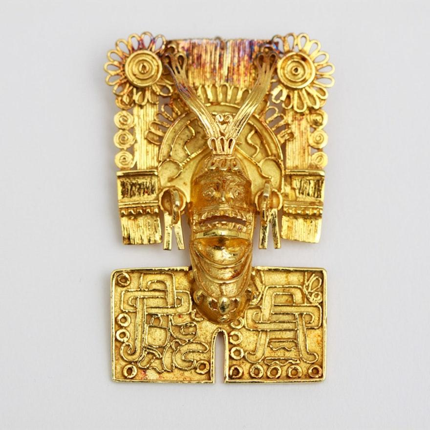 e7ab076f874 14K Gold Aztec Pendant Brooch : EBTH