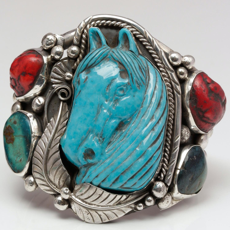 Fransisco Gomez Sterling Silver Horse Cuff Bracelet