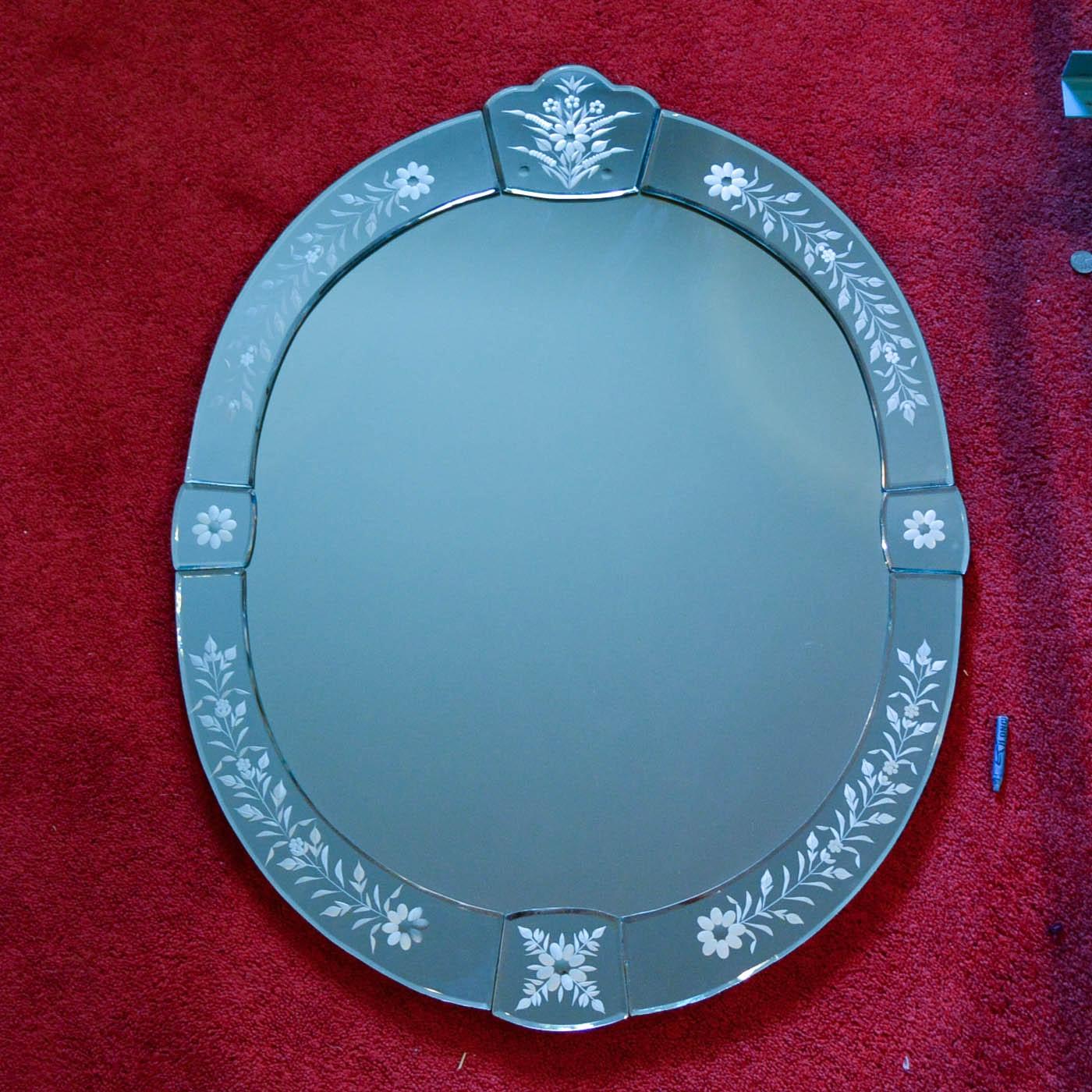 Vintage Blue Glass Wall Mirror