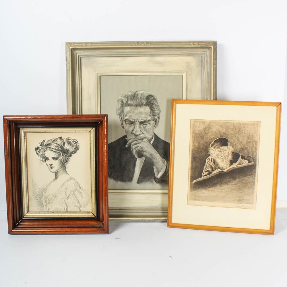 Assortment of Framed Portrait Artworks