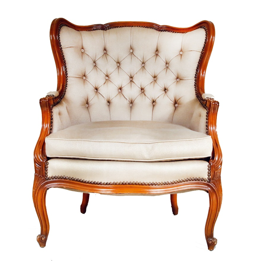 Antique Button Tufted Round Back Chair ... - Antique Button Tufted Round Back Chair : EBTH