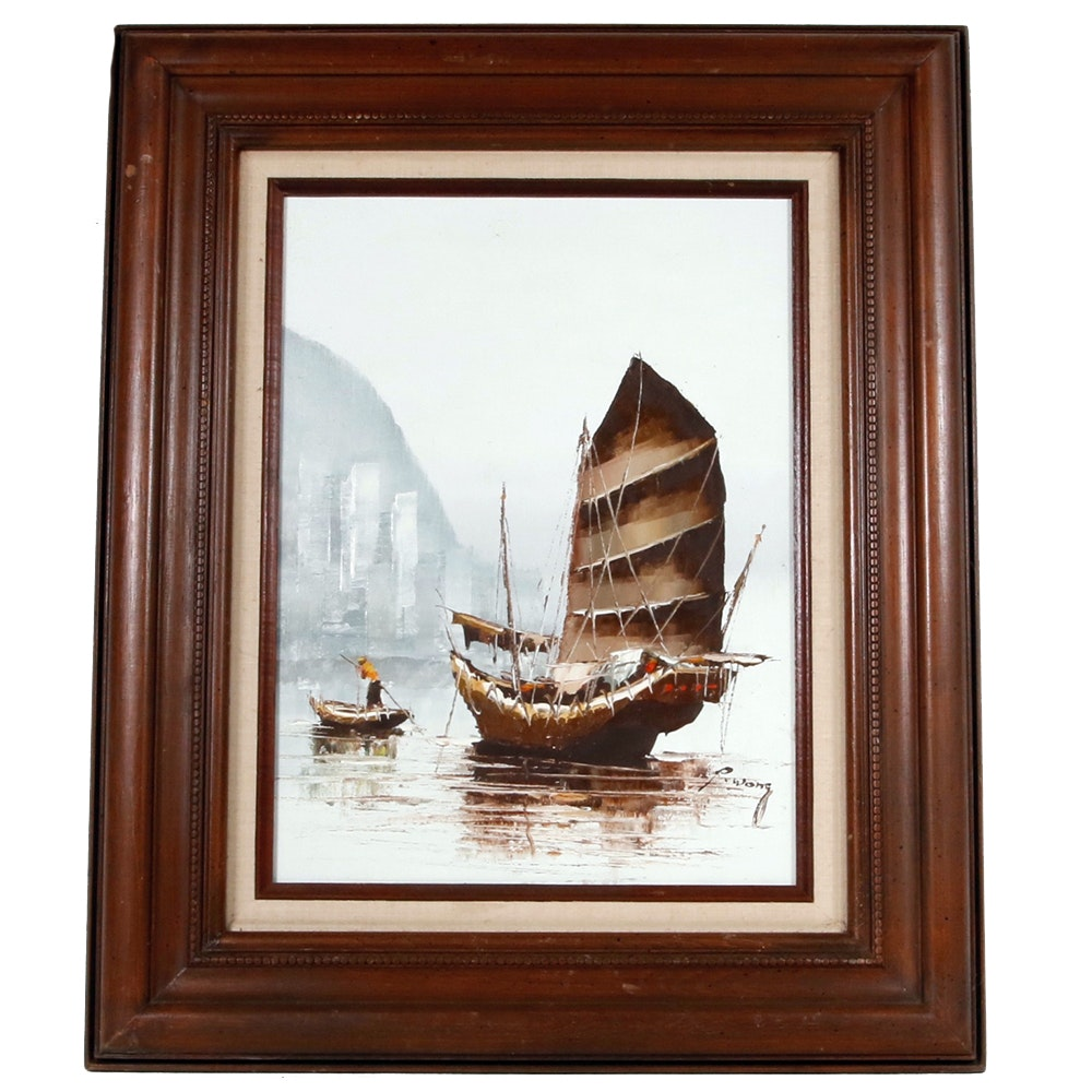 Peter C. Wong Signed Oil Waterscape Painting