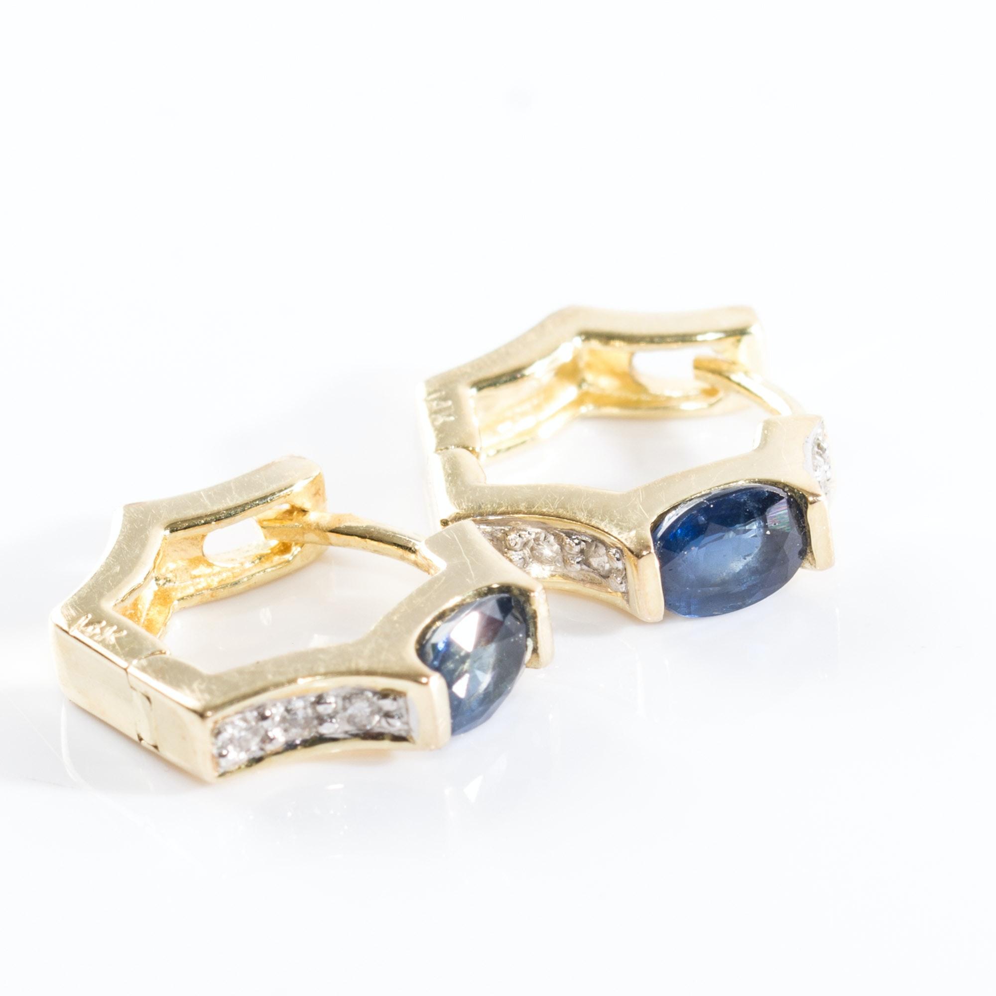 14K Sapphire and Diamond Huggie Hoop Earrings
