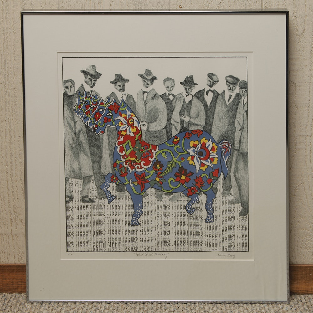 """Artist's Proof Signed and Framed Serigraph """"Wall Street Fantasy"""" by Karen Levy"""