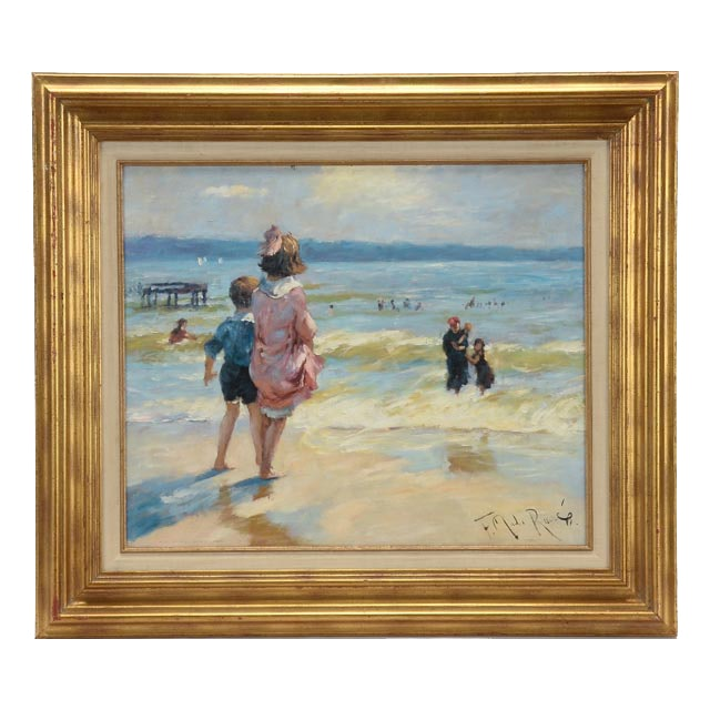 """Reproduction Painting After E. H. Potthast's """"At the Seashore"""""""