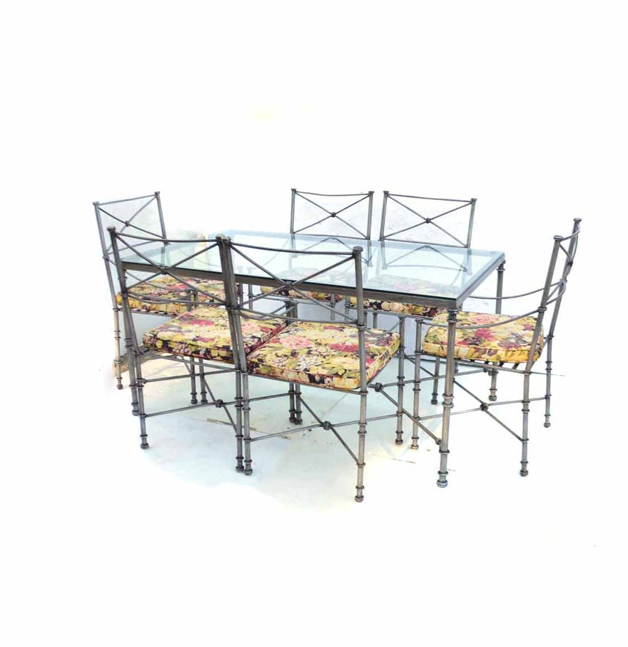 Pier One Glass Top Dining Table with Six Chairs : EBTH