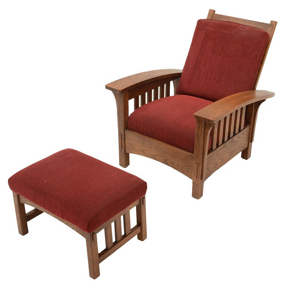 Stickley Style Reclining Oak Morris Chair With Ottoman ...