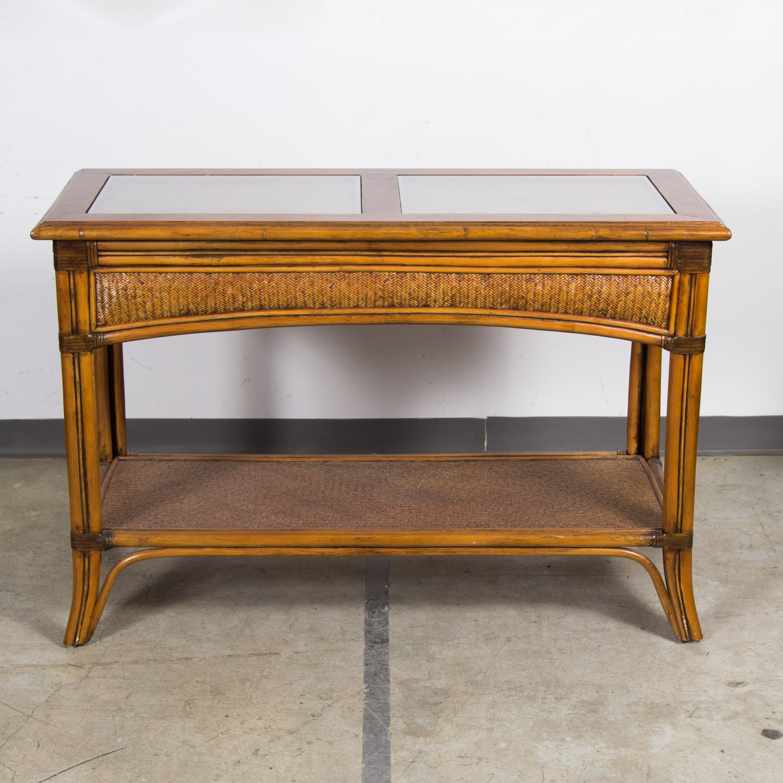 Glass Top Wicker Sofa Table
