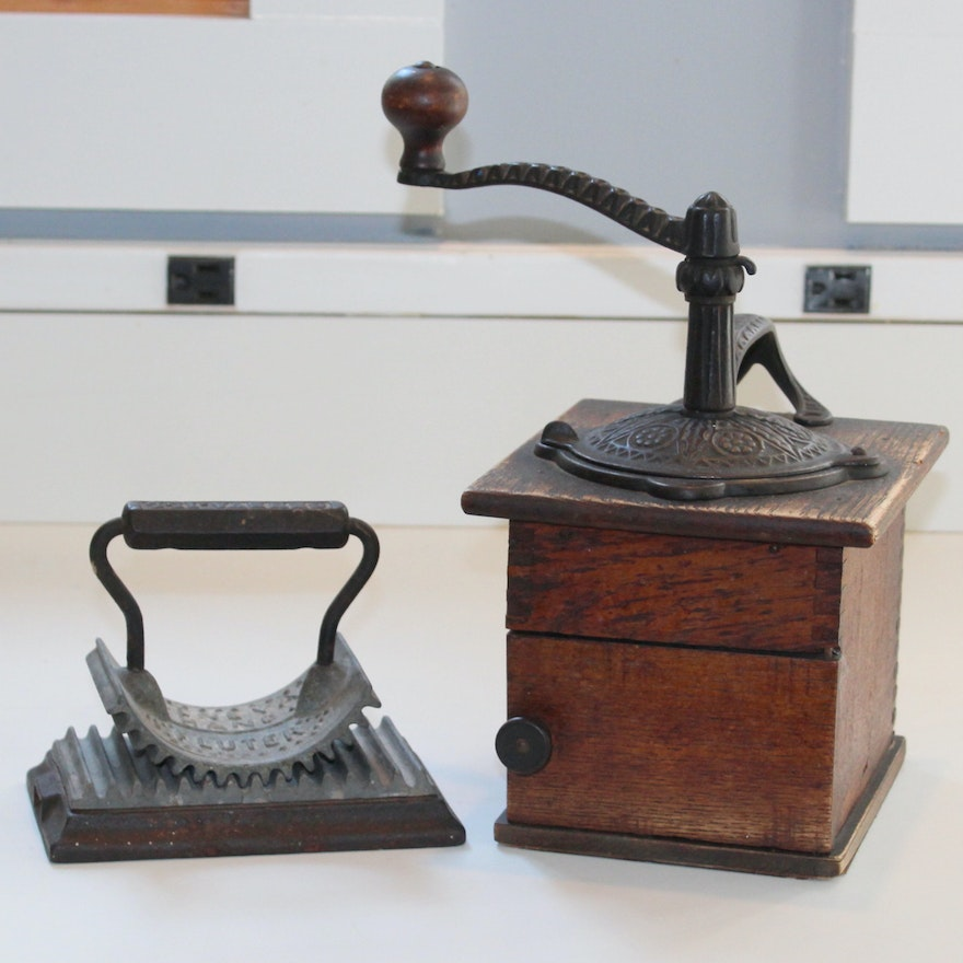Antique Coffee Grinder and Hand Fluter