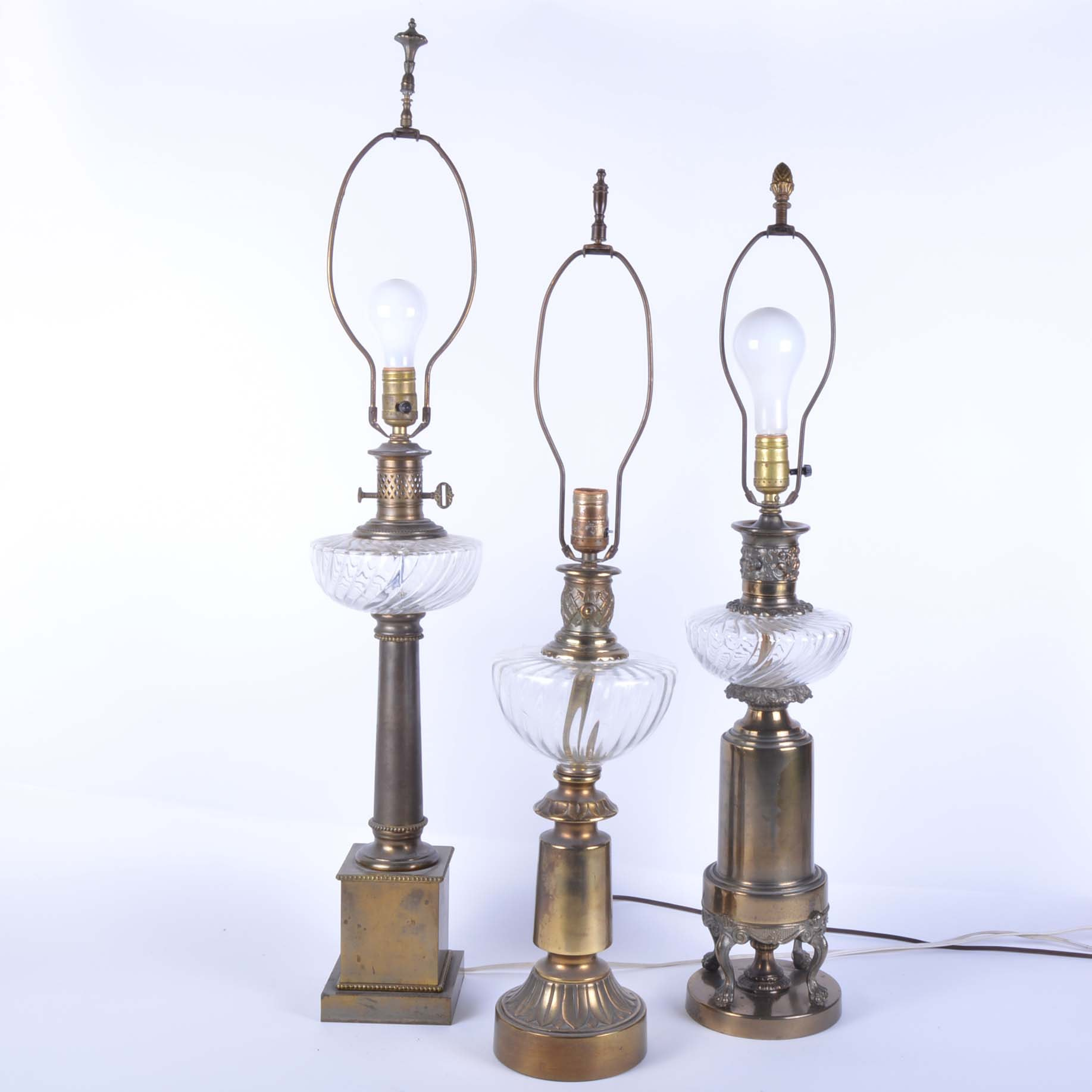 Vintage Converted Oil Lamp Threesome