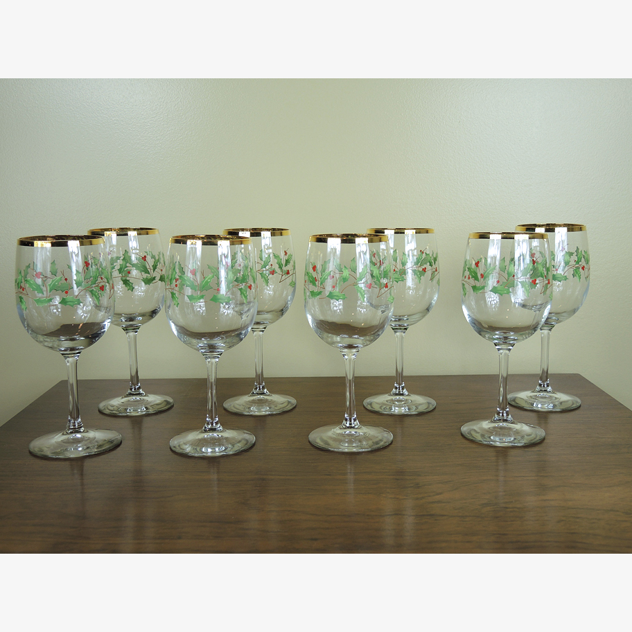 Lenox Christmas Wine Glasses : EBTH