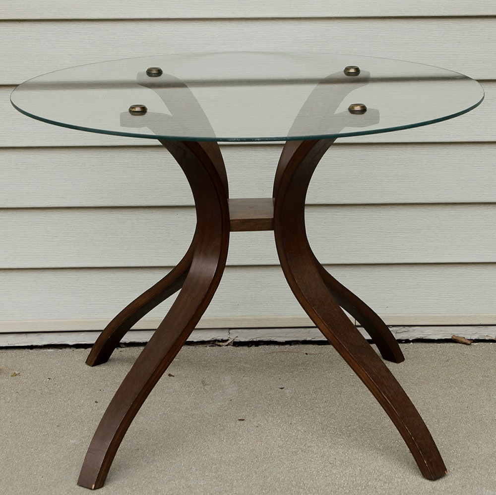 Mid Century Modern Teak End Table with Glass Top