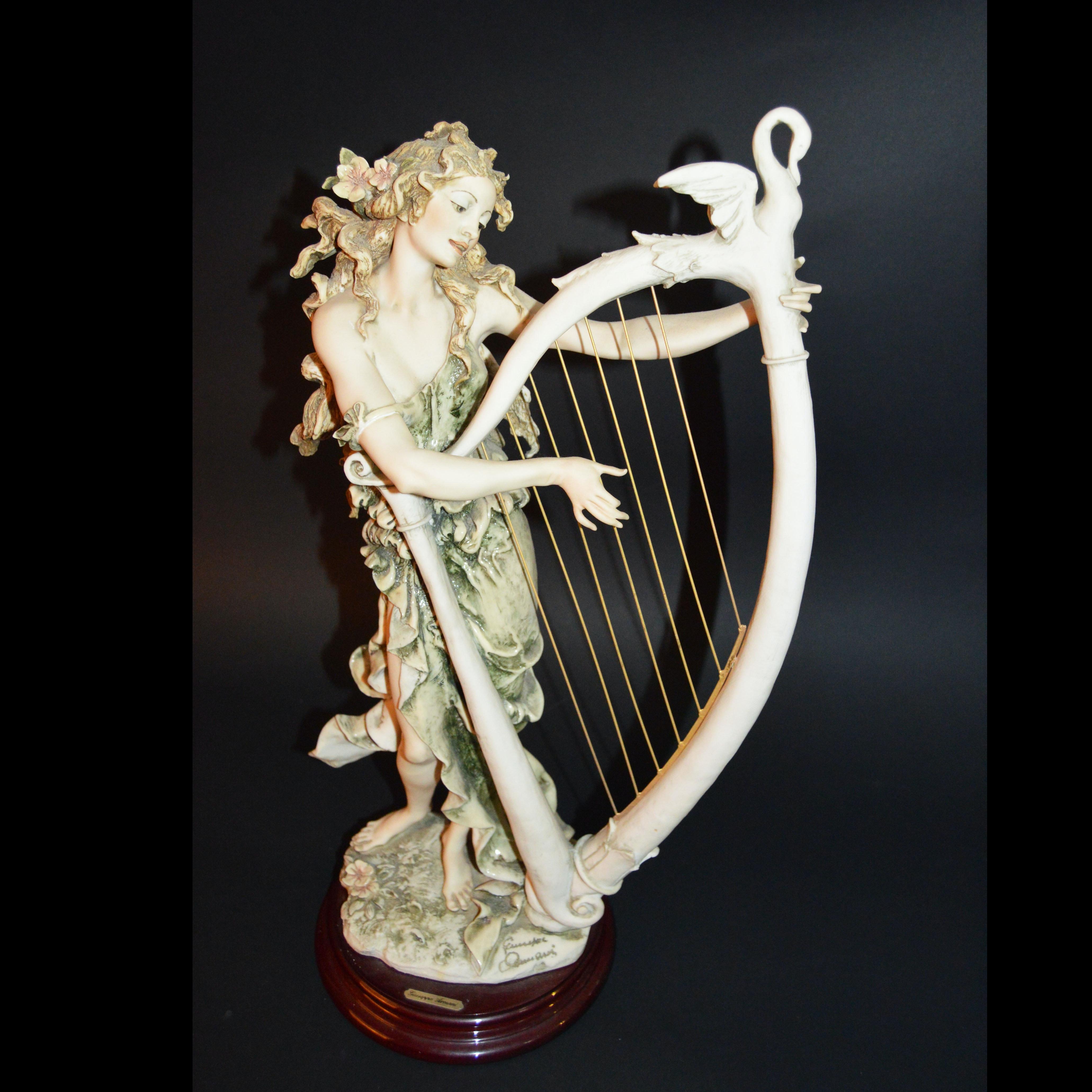Giuseppe Armani Angelica Playing Harp Sculpture