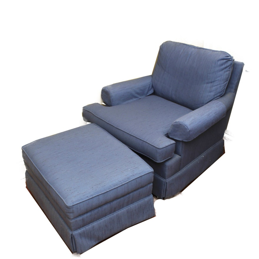 Blue Accent Chair And Ottoman Set Ebth