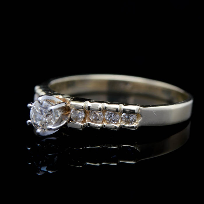 0.50 CTW Diamond and 14K Yellow Gold Engagement Ring