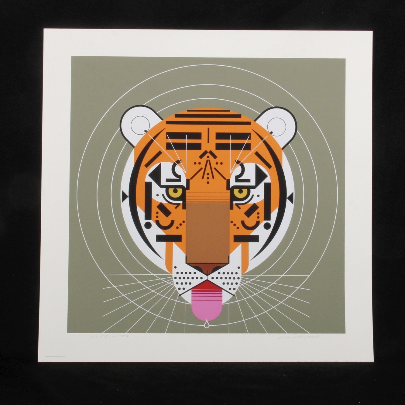 """Charley Harper Signed Limited Edition Serigraph """"Cool Carnivore"""""""