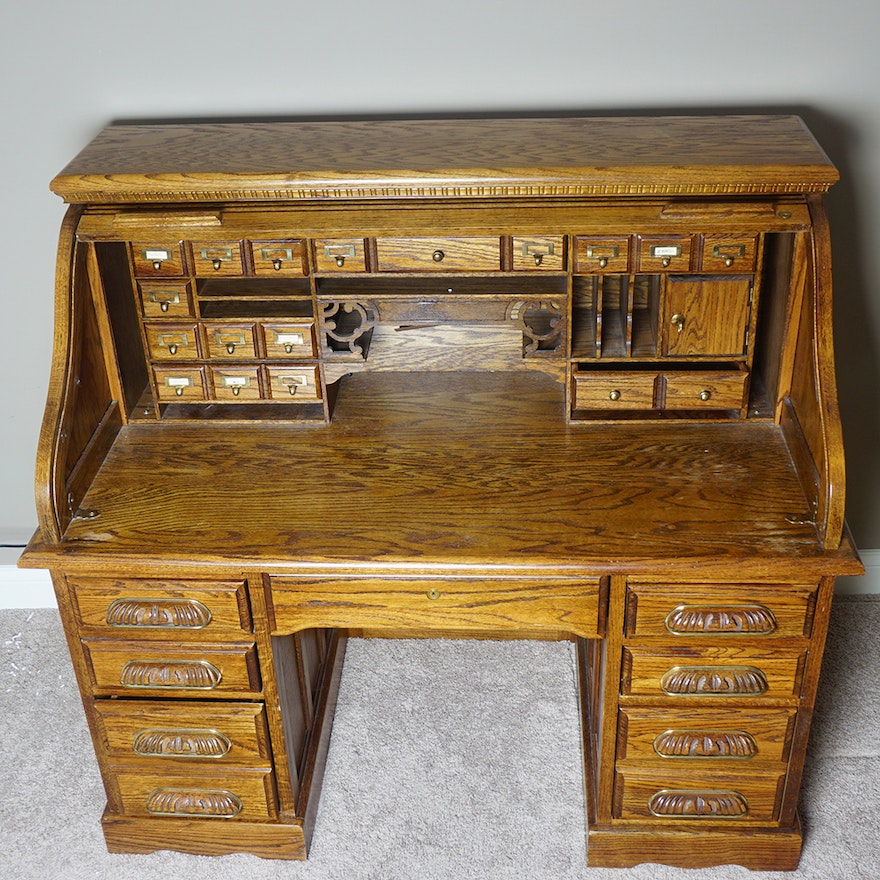 Oak Creek By Riverside Roll Top Desk