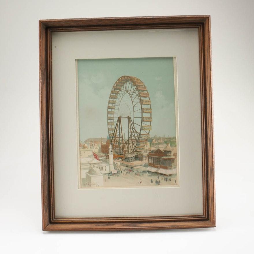 H.D. Nichols Lithograph of the Original Ferris Wheel : EBTH
