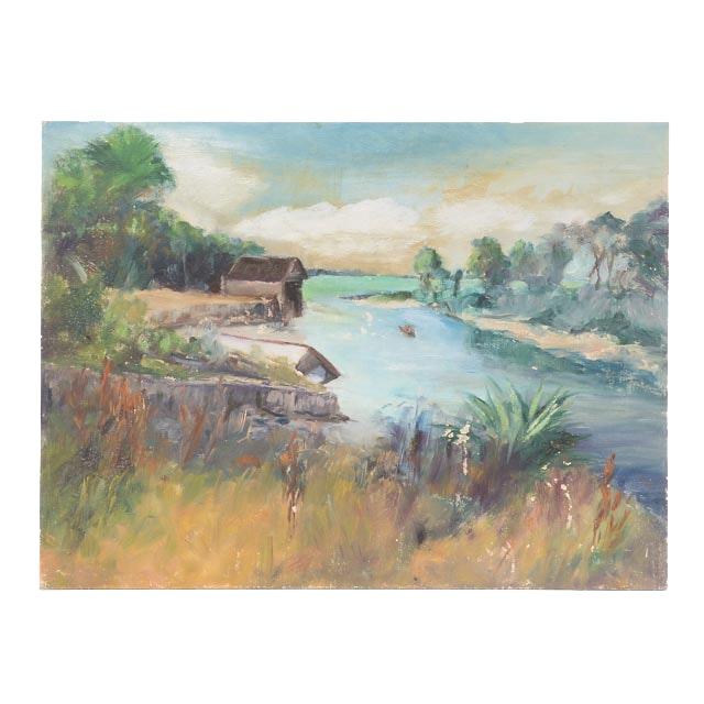 "Dora McCollister Original Oil Painting on Board ""Lowe's Boat Yard, Sarasota, Fla."""