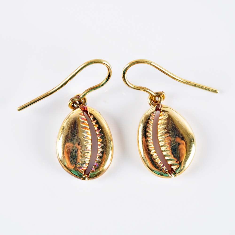 18K Dangle Shell Earrings