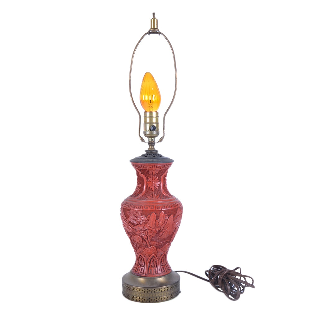 Chinese Carved Cinnabar Table Lamp