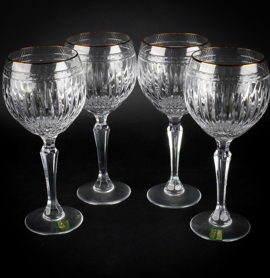 """Set of Marquis by Waterford """"Hanover Gold"""" Crystal Wine ..."""