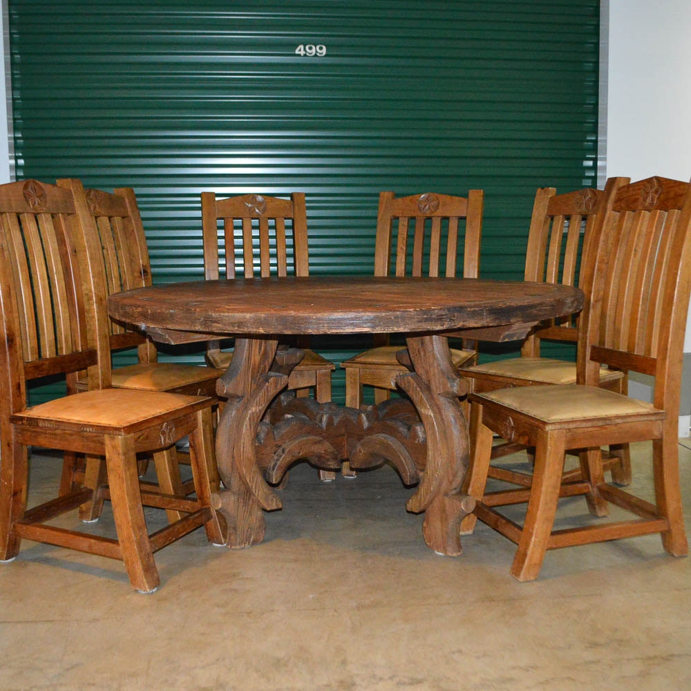 Attractive Hand Crafted Mexico Lindo Wood Dining Table And Six Chairs ...