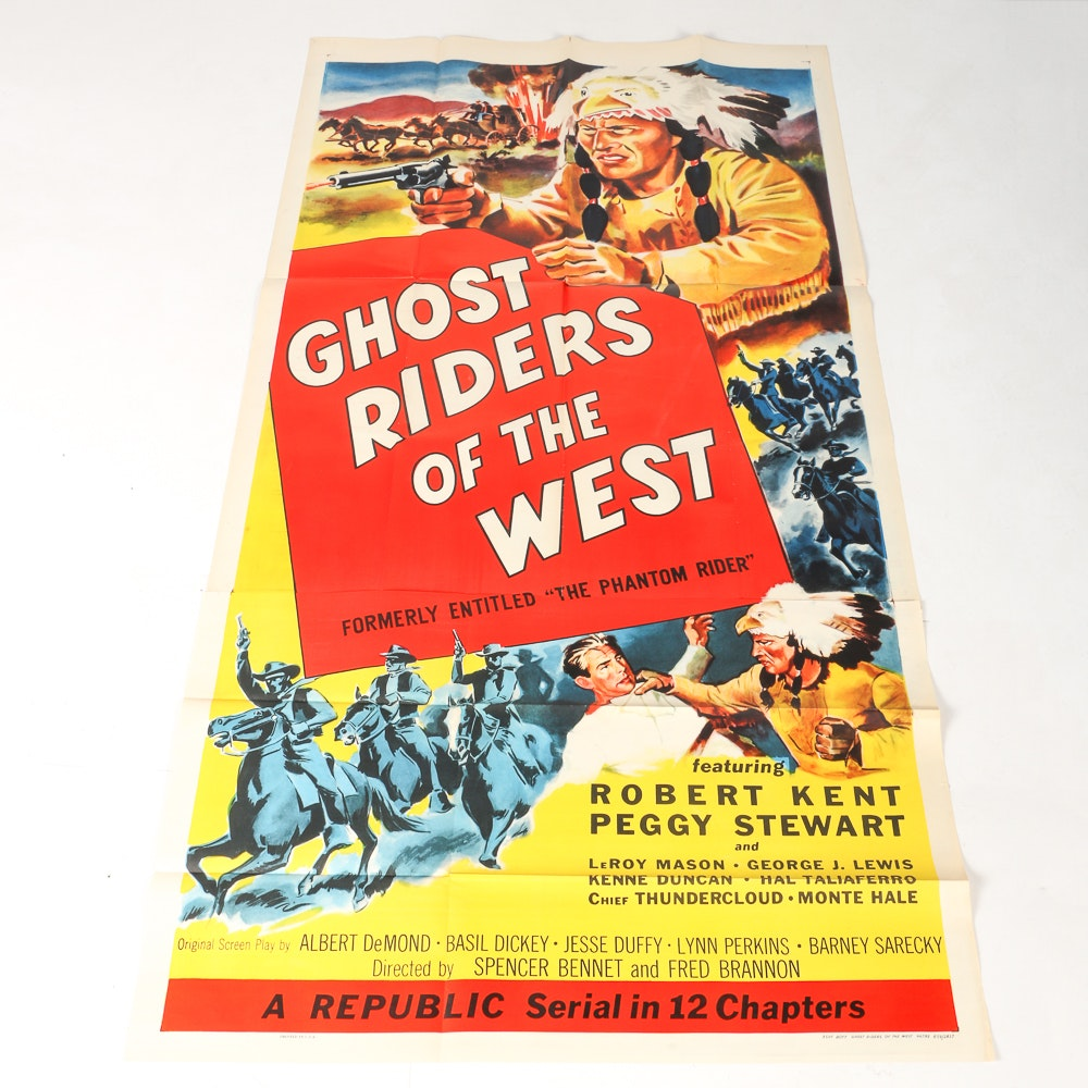 """1954 Movie Poster """"Ghost Riders of the West"""""""