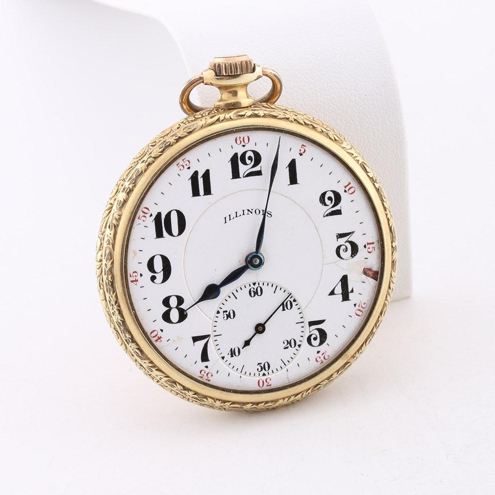 14k gold closed cover elgin pocket watch ebth
