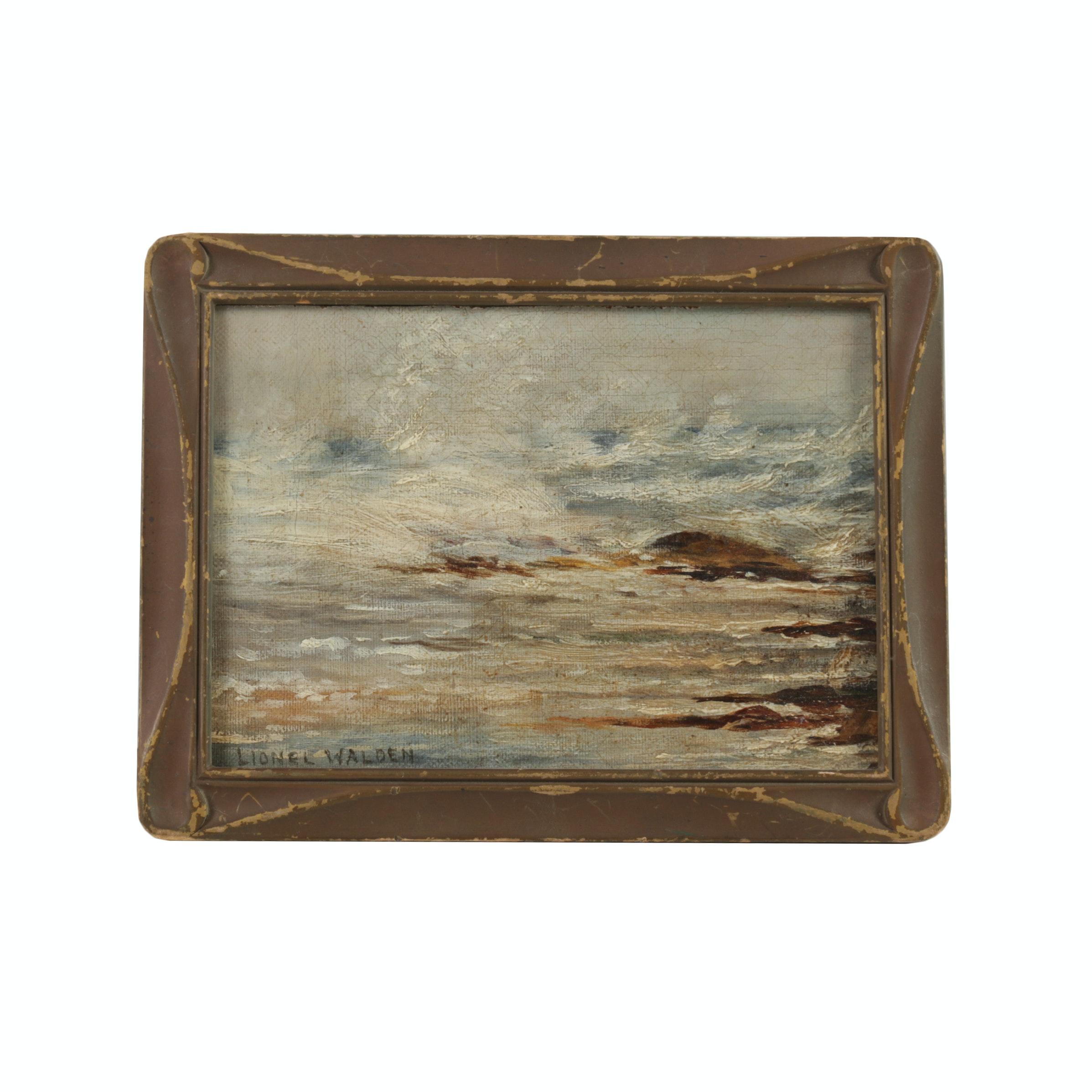 Lionel Walden Oil on Canvas Board Seascape