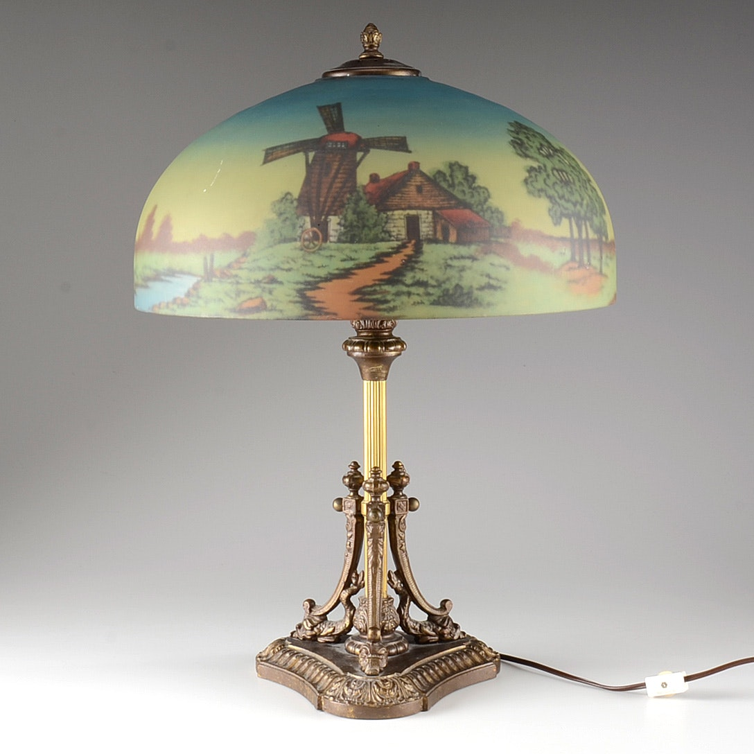 Antique Brass Table Lamp with Reverse Painted Shade