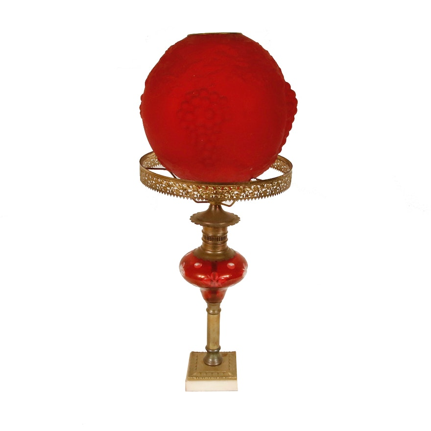 Red glass table lamp ebth red glass table lamp aloadofball Images