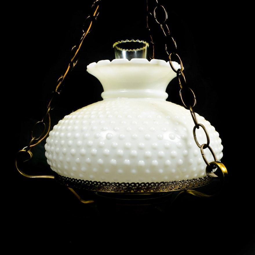 Vintage Hobnail Milk Glass Light Fixture