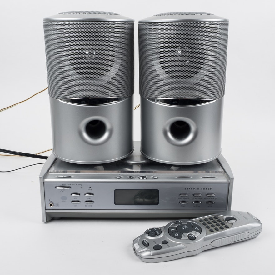 Sharper Image Cd Player And Silver Tone Speakers Ebth