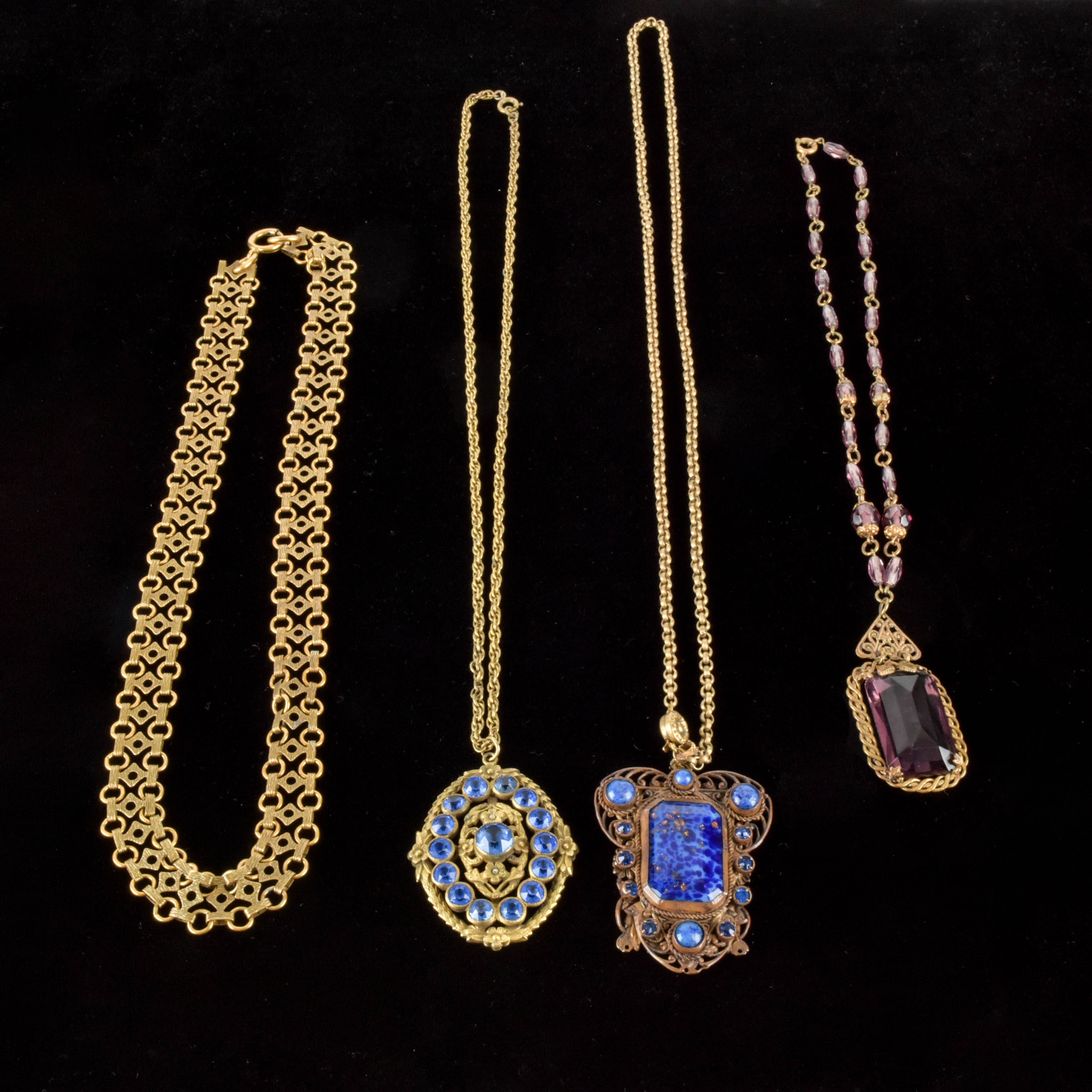 Four Gold Tone and Glass Vintage Necklaces