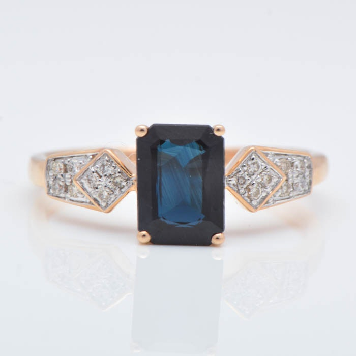 1.00 Carat Sapphire, Diamond and 14K Rose Gold Ring
